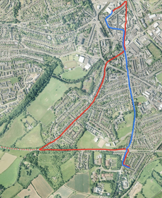 The Western Welsh local Priory Avenue route of the 1950s and 60s superimposed onto a modern aerial photograph