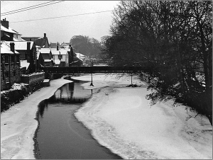 River Ogmore viewed from the Old Bridge - January 1963